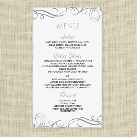 Wedding Menu Card Template Download Instantly Edit Yourself Elegant Swirls Pewter 4 X 7 Menu Cards For Wedding Reception Template
