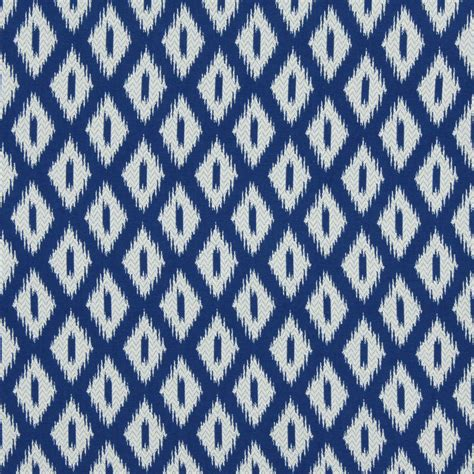 peacock blue ikat upholstery fabric blue white geometric