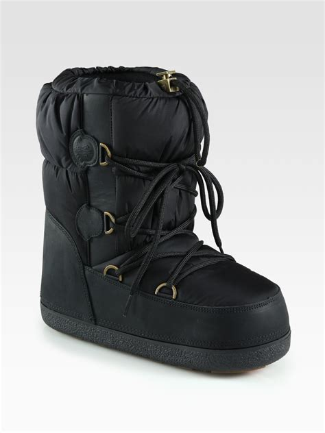 lyst moncler nylon leather laceup moon boots  black