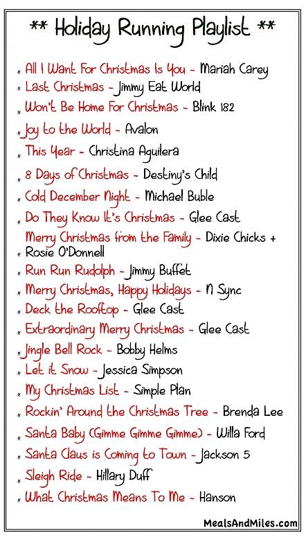 christmas song list running playlist