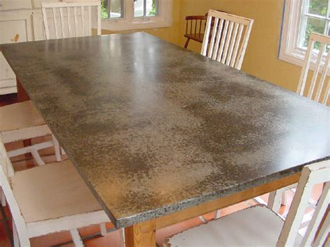 we form zinc copper or distressed galvanized for tables