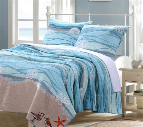 beachy bedding seaside blue full queen quilt set beach house coral
