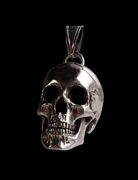 sterling silver skull sterling silver and heavy skull pendant 98 grams