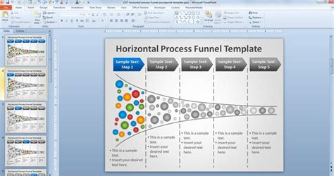 process template powerpoint free horizontal process funnel powerpoint template free