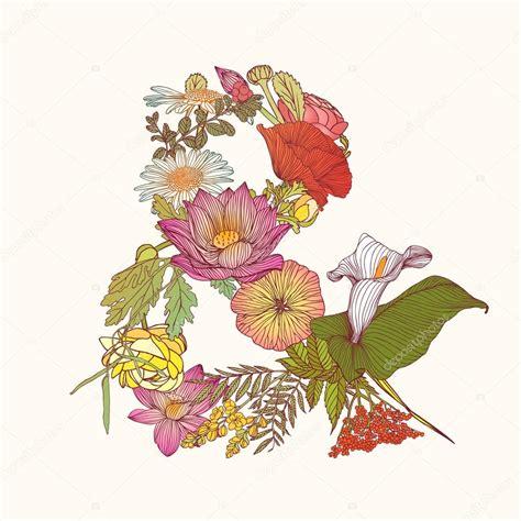 simbolo dei fiori simbolo di e commerciale alfabeto dei fiori vettoriali