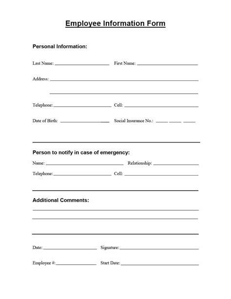 employee information form template free 47 printable employee information forms personnel