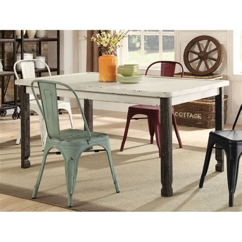 coaster dining table in antique white 104161