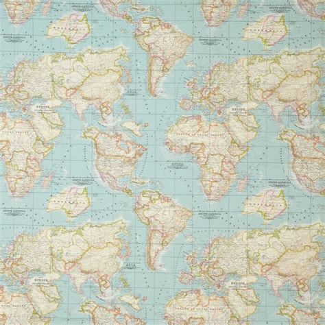 pattern paper john lewis world map fabric blue
