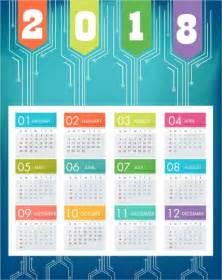 Calendar 2018 Background 2018 Calendar Background Blue Modern Decor Technology