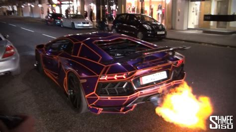 The Return of Tron   Flaming Aventador   YouTube