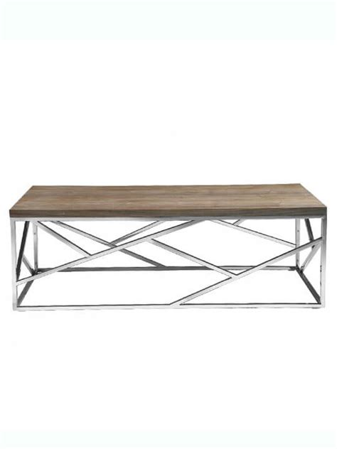 Chrome And Wood Coffee Table Aero Chrome Wood Coffee Table Modern Furniture Brickell Collection
