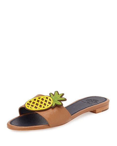 burch sandal burch pineapple leather flat sandal in green royal