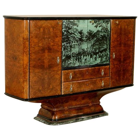 Painted Bar Cabinet Bar Cabinet Burl Veneer Back Painted And Screen Printed Glass Marble 1940s At 1stdibs