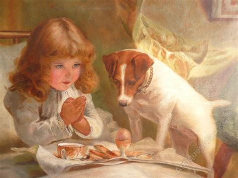 antiques atlas painting girl jack russell charles