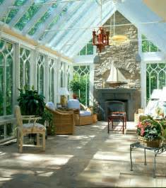 gable end conservatory with fireplace traditional living room chicago by town and