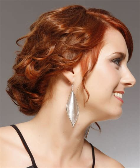 formal hairstyles red hair updo medium curly formal updo hairstyle with side swept
