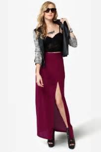 She Maxi burgundy skirt maxi skirt slit skirt 33 00