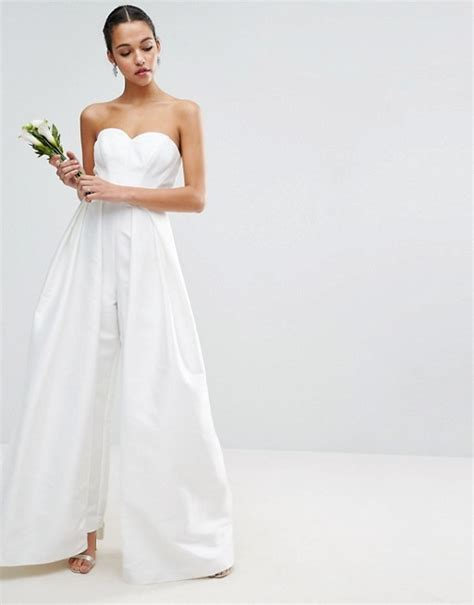 Wedding Dress Jumpsuit by Asos Bridal Jumpsuit In White Wide Leg Jumpsuits S