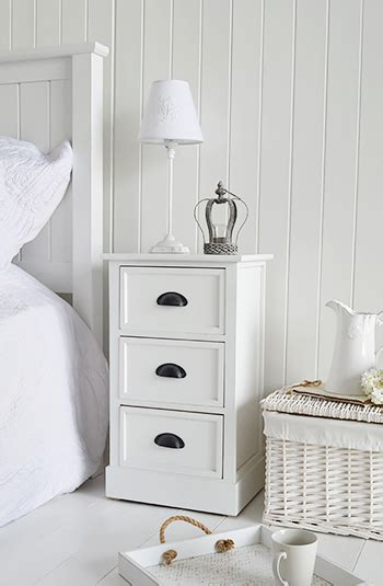 southport white furniture 3 drawer bedside table for