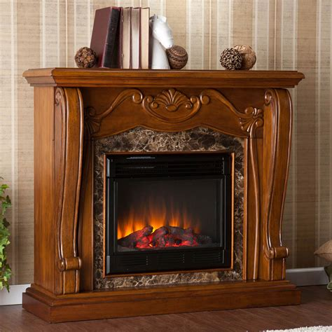 Tuscan Home Design Elements by Sei Tuscan Electric Fireplace In Walnut With Faux Marble