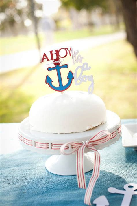 Nautical Baby Shower Cake Toppers by Ahoy It S A Boy Cake Topper For Nautical Baby Shower