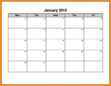 monday to friday calendar template 7 monday through friday calendar workout spreadsheet