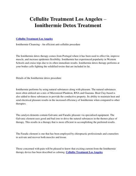 Ionithermie Detox by Cellulite Treatment Los Angeles Ionithermie Detox Treatment