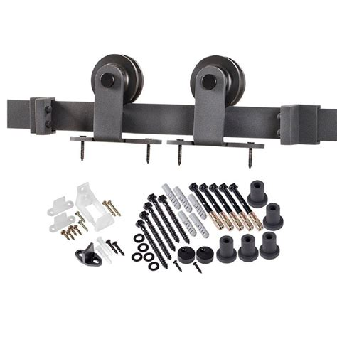 Truporte 78 75 In Matte Black Top Strap Barn Door Black Barn Door Hardware