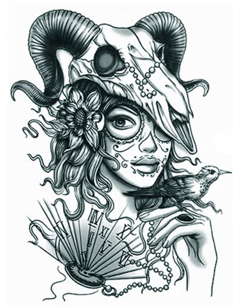 1sheet 3d tattoo goat skull mask beauty temporary tattoo