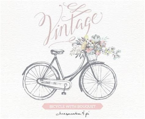Wedding Invitation Clip by Vintage Bicycle With Floral Bouquet Clipart Wedding