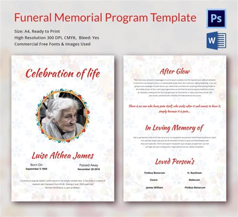 5 Funeral Memorial Templates Free Word Pdf Psd Documents Download Program Design Trends Funeral Program Template Docs