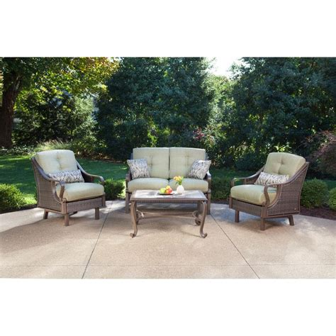 Conversation Sets Patio Furniture Hanover Ventura 4 Patio Conversation Set With Vintage Meadow Cushions Ventura4pc The