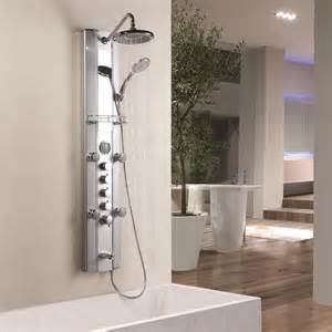 aluminum panel tower fixed overhead shower handset