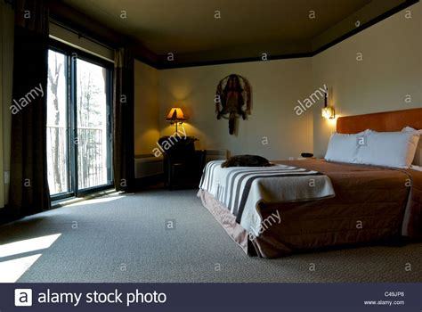 pelt reserve room room at hotel musee premieres nations wendake stock photo royalty free image 37091664