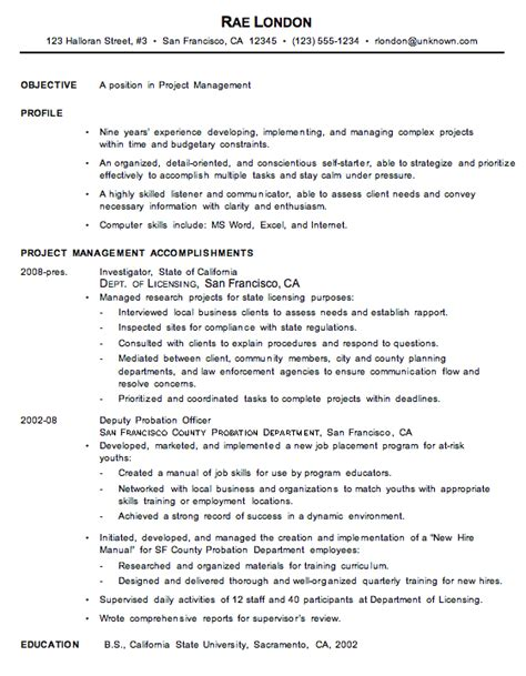 chronological resume exles resume sle for a project manager susan ireland resumes