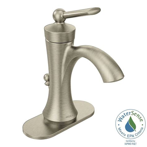 moen brushed nickel bathroom faucet moen wynford single hole 1 handle high arc bathroom faucet