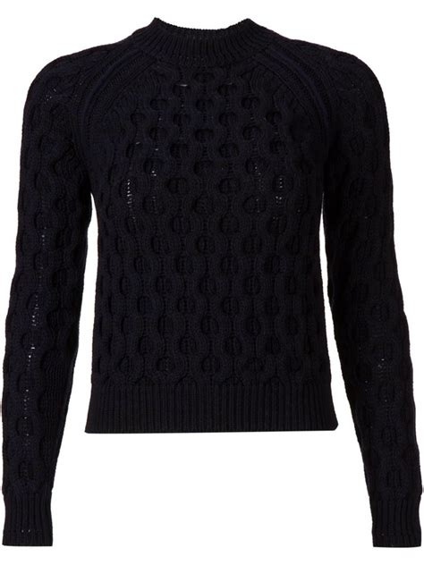 black cable knit sweater mugler cable knit sweater in black lyst