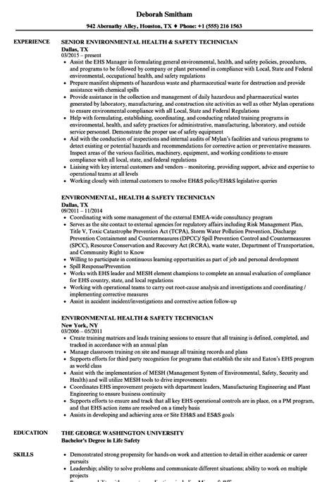 Environmental Health & Safety Technician Resume Samples   Velvet Jobs