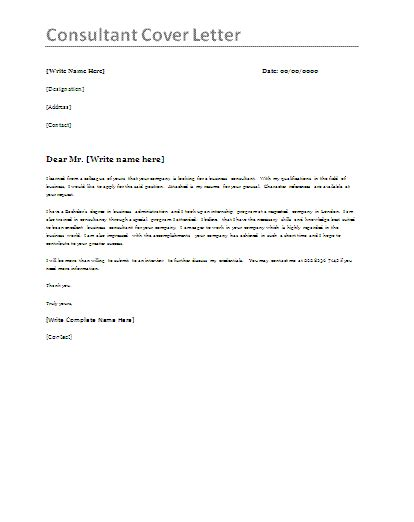 cover letter to consultant for consultant cover letter template by formsword