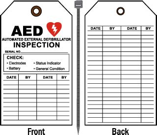 Aed Inspection Tags Aed Tags Aed Maintenance Checklist Template