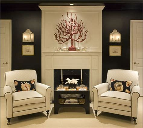 black accent wall in living room coral wall decor contemporary living room burnham design