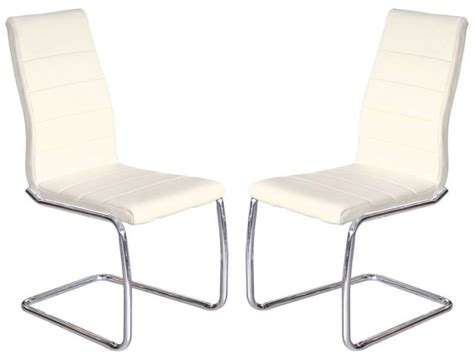 Buy Leather Dining Chairs Febland Svenska Steel Chrome Frame Dining Chairs Faux Leather Available In Sets Of 2