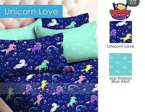 Kain Cvc Unicorn detail product sprei dan bedcover unicorn biru
