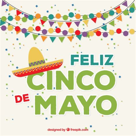 cinco de mayo background happy cinco de mayo background with garlands vector free