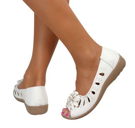 comfortable booties heels womens wide fit peep toe comfort slip on low wedge casual