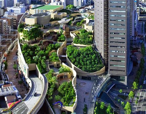 Chicagos Eco Shopping Mall Hippyshopper by Japan S Namba Parks Has An 8 Level Roof Garden With