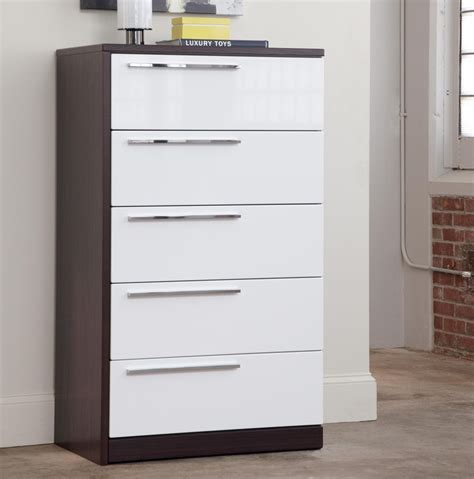 20 Inch Wide Chest Of Drawers Drachten Modern Chest With High Gloss White Reddish Brown