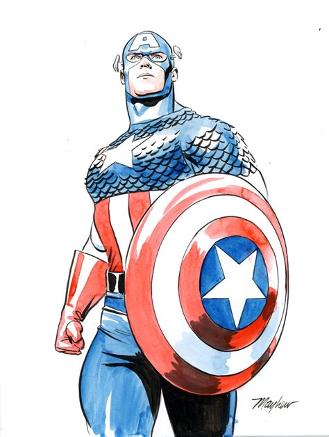 Captain Original mike mayhew original captain america color sketch in mike