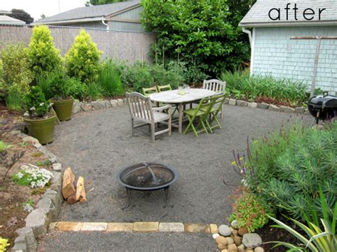gravel backyard before after two backyard renovations design sponge