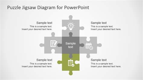 Free Flat Puzzle Jigsaw Powerpoint Diagram Slidemodel How To Create Jigsaw Puzzle In Powerpoint